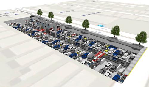 mechanized car parking system illustration